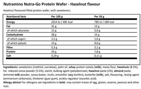 01 372 010 Nutra Go Protein Waffer 39g facts