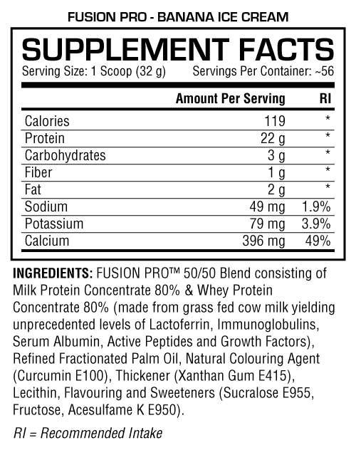 Fusion Pro 4lbs Banana Ice Cream Supplement Facts 1024x1024