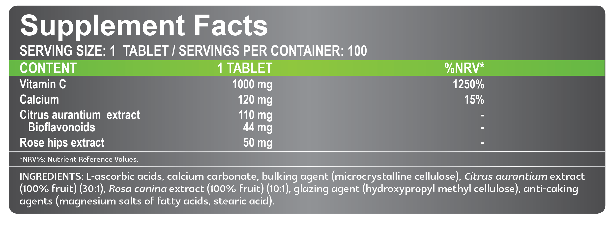 supplement facts c1000 vitamin